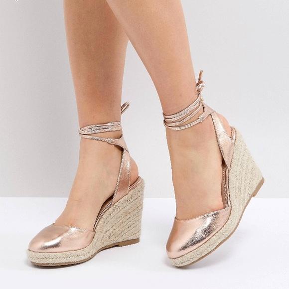 5723120340 ASOS Shoes   Rose Gold Espadrille Wedges   Poshmark